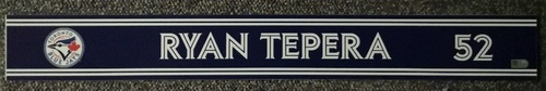 Photo of Authenticated Game Used Locker Name Plate - #52 Ryan Tepera (Sept 24, 18: 0.1 IP, 0 ER)