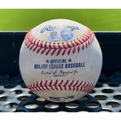 Photo of Colorado Rockies Game-Used Baseball - Pitcher: Stefan Crichton, Batter: Trevor Story (Double to David Peralta) - August 12, 2020 vs. Arizona Diamondbacks