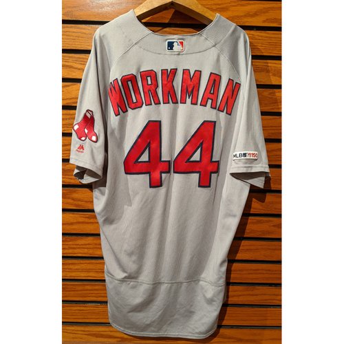Photo of Brandon Workman #44 Game Used Road Gray Jersey