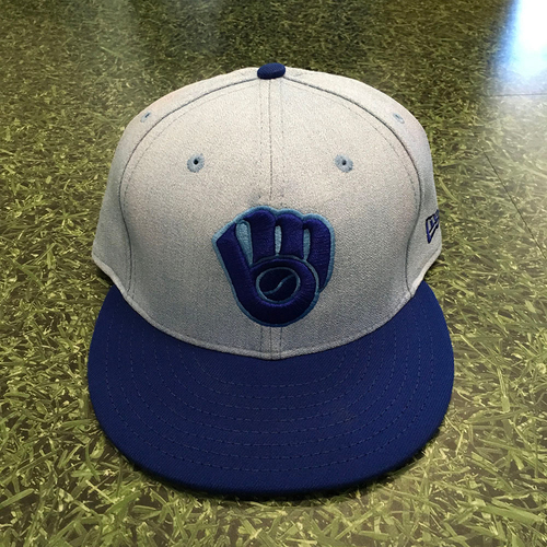 Photo of Jesus Aguilar 06/17/18 Game-Used Father's Day Cap - 3-5, HR (13), 2 RBI