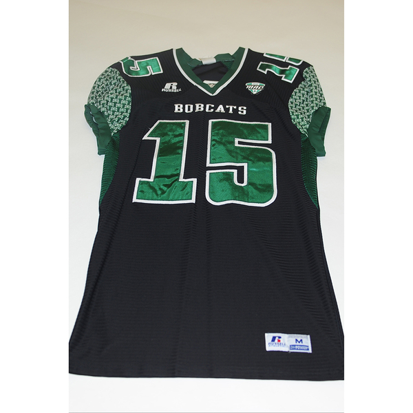 Photo of # 15 - Official OHIO BOBCATS Game Worn Football Jersey (2011) - SIZE MEDIUM