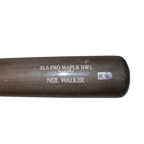 Neil Walker #20 - Game Used Cracked Bat - Old Hickory - Grey and Beige Model - Mets vs. Giants - 5/9/17