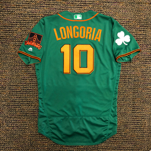 Photo of 2018 San Francisco Giants - 2018 Game Used St. Patrick's Day Jersey worn by #10 Evan Longoria on 3/17/2018 vs Oakland A's - 1-2