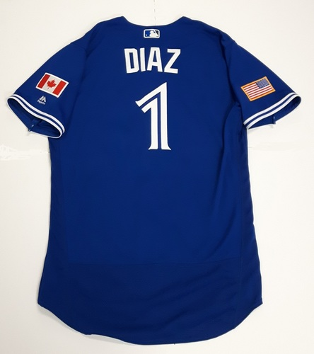 Photo of Authenticated Game Used 2018 Independence Day Jersey (July 4, 2018) - #1 Aledmys Diaz: 0-for-4. Size 46.
