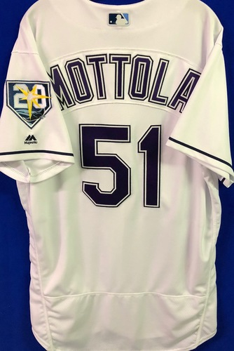 Photo of 20th Anniversary Game Used Devil Rays Jersey: Chad Mottola - March 31 v BOS, June 9 v SEA, June 23 v NYY and September 8 v BAL