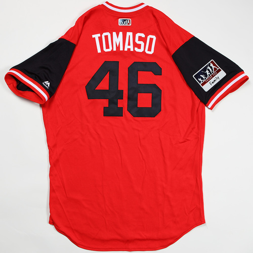 "Photo of Tommy ""Tomaso"" Milone Washington Nationals Team Issued Jersey 2018 Players' Weekend Jersey"