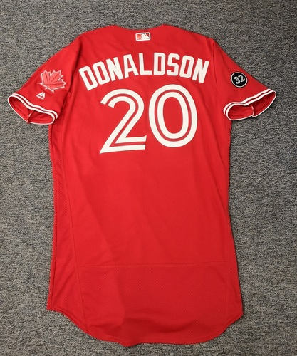 Photo of Authenticated Team Issued 2018 Canada Day Jersey - #20 Josh Donaldson. Size 44.