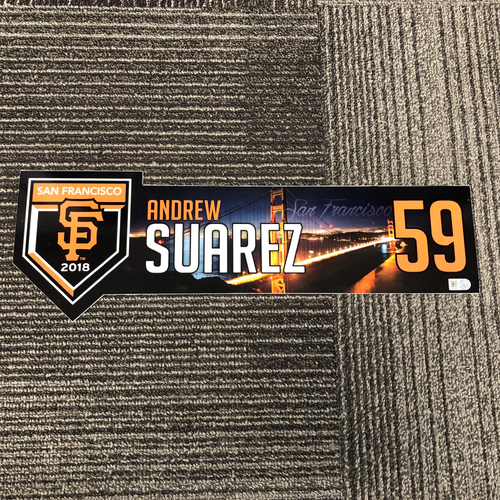 Photo of 2018 Regular Season Game Used Locker Tag - #59 Andrew Suarez