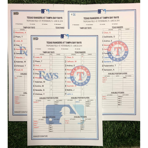 Photo of Replica LineUp Cards: June 28-30, 2019 v TEX - Brendan McKay MLB Debut