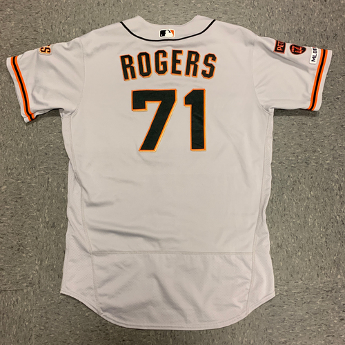 Photo of 2019 Game Used Road Jersey worn by #71 Tyler Rogers on 9/21 @ Atlanta Braves - Size 46