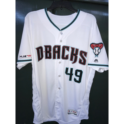 Photo of Alex Young Game-Used Home Alternate Jersey, Size 48 -- 8/20/19 vs. Rockies - 6 IP, 7H, 3 ER, 4 K's, Win