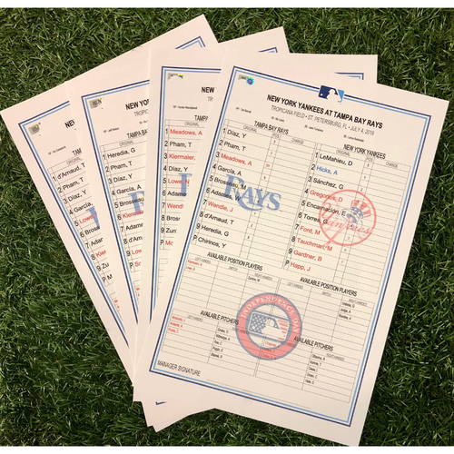 Photo of Replica Lineup Card Set: July 4-7, 2019 v NYY
