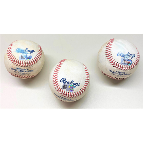 Photo of Minnesota Twins Game-Used Baseball Collection #1: Andrelton Simmons HBP, Luis Arraez Single, and Taylor Rogers Strikeout (MLB AUTHENTICATED)
