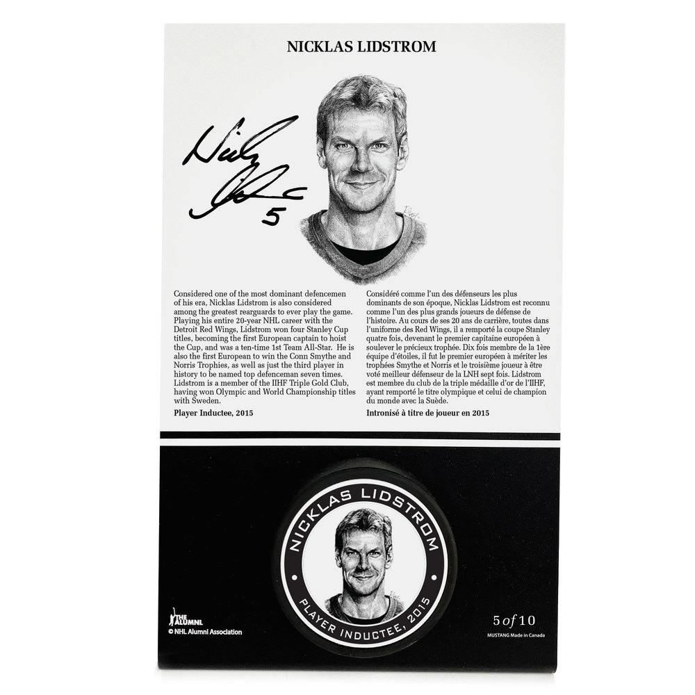Nicklas Lidstrom Autographed Legends Line Honoured Member Puck Stand - Limited Edition 8/10