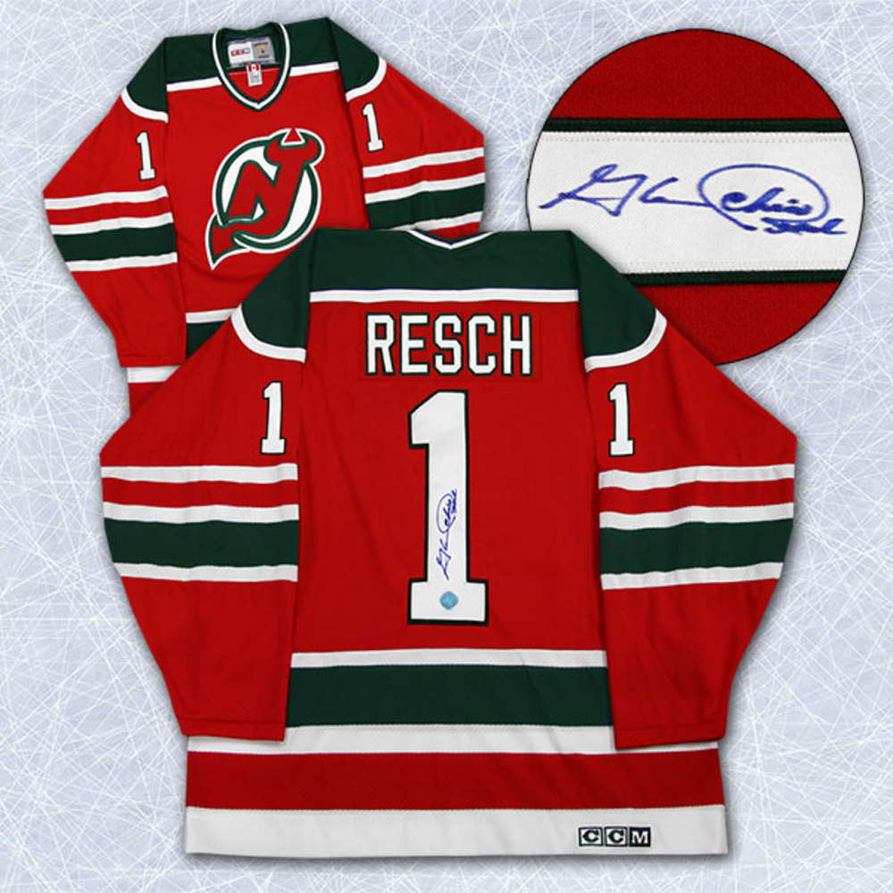 Chico Resch New Jersey Devils Autographed Retro CCM Hockey Jersey