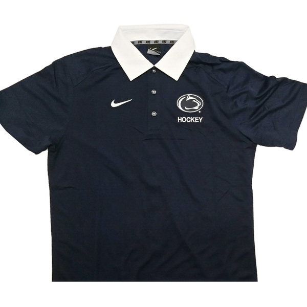 Photo of Penn State Men's Ice Hockey Team Issued Gear: Blue Polo (like new) Size M