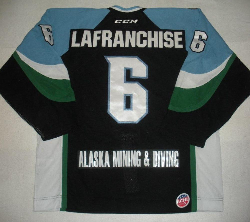 Kane Lafranchise - 2014 Kelly Cup Finals - Alaska Aces - Black Game-Worn Jersey - Game 4