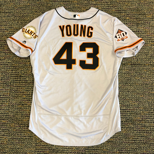 Photo of San Francisco Giants - 2018 Opening Day Game-Used Road Jersey - Worn by #43 Curt Young on 3/29/2018 vs. the Los Angeles Dodgers - Jersey Size 50