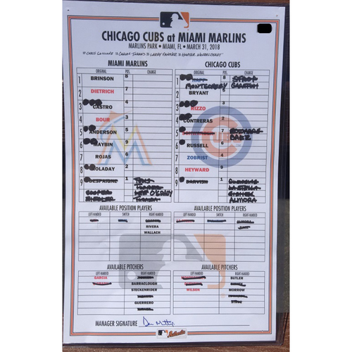 Photo of Game-Used Marlins vs Cubs Line Up Card (March 31, 2018)