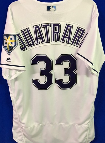 Photo of 20th Anniversary Game Used Devil Rays Jersey: Matt Quatraro - March 31 v BOS, June 9 v SEA, June 23 v NYY and September 8 v BAL