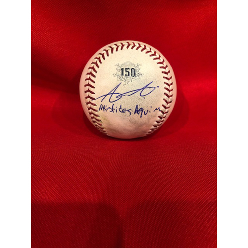 Aristides Aquino -- Autographed -- Game-Used Ball from Aquino 3-Homer Game -- Mills to Farmer (Foul) -- Aquino Ties MLB Record with 7 Homers in First 10 Career Games on 8/10/19