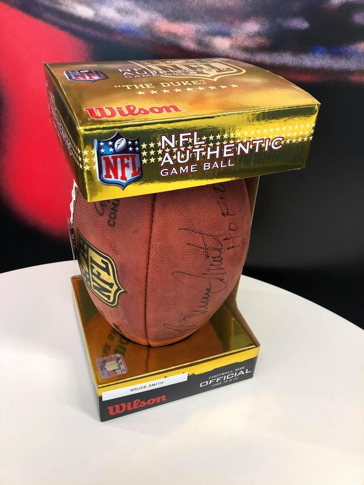 COVID-19 Relief - Bills HOFer Bruce Smith autographed authentic football