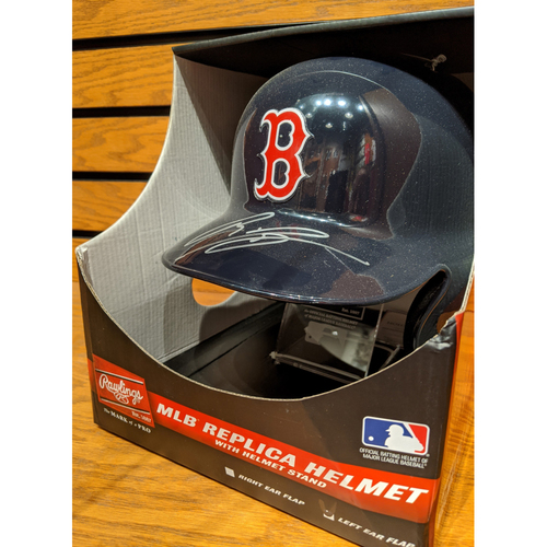 Photo of Rafael Devers Autographed Replica Helmet with Stand
