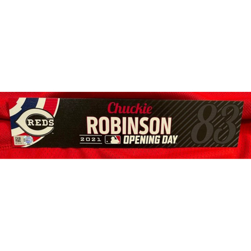 Photo of Chuckie Robinson -- 2021 Opening Day Locker Tag -- Team-Issued -- Cardinals vs. Reds on 4/1/21