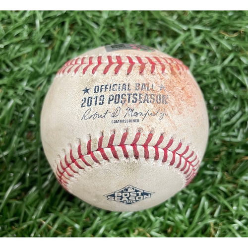 Photo of Game Used ALDS Baseball: Alex Bregman single off Chaz Roe - Top 6 - October 7, 2019 v HOU