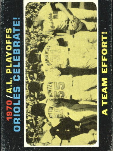 Photo of 1971 Topps #198 AL Playoff Summary/Orioles Celebrate