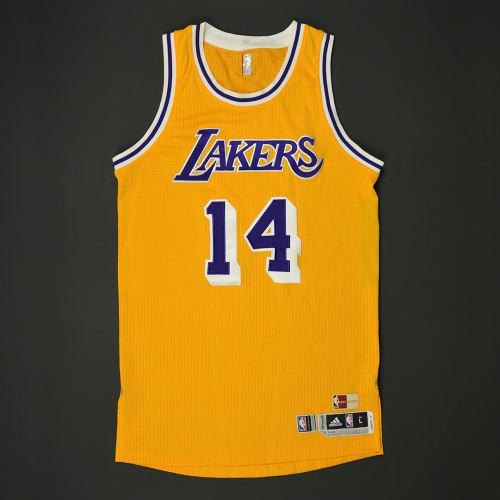 buy popular b62dd 047ee Brandon Ingram - Los Angeles Lakers - Game-Worn Hardwood ...