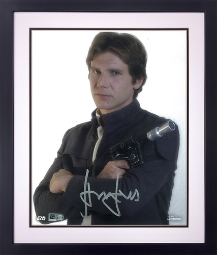 Harrison Ford as Han Solo 11x14 Autographed in Silver Ink Framed Photo
