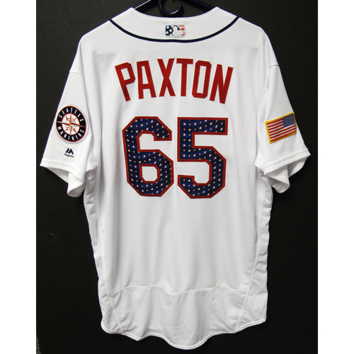 Photo of James Paxton Team-Issued 4th of July White Jersey KC at SEA - 7-4-2017 . Jersey Size - 48