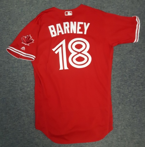 Photo of Authenticated Game Used Jersey - #18 Darwin Barney (July 30, 2017). Pinch Runner and scored 1 Run. Size 44