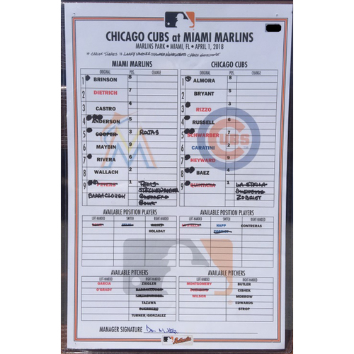 Photo of Game-Used Marlins vs Cubs Line Up Card (April 1, 2018)