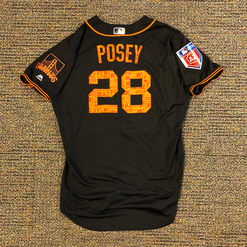 Photo of 2018 San Francisco Giants - 2018 Game Used Spring Training Jersey Worn by #28 Buster Posey on 3/26/2018 vs. Oakland A's - 1-3, 1 R