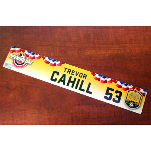 Photo of Trevor Cahill Team-Issued Opening Day 2018 Locker Nameplate