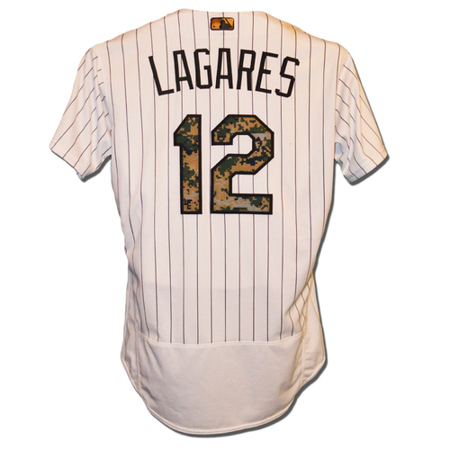 Photo of Juan Lagares #12 - Game Used Memorial Day Camo Jersey - Mets vs. White Sox - 5/30/16