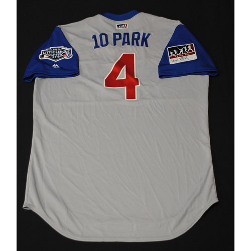 "Photo of 2019 Little League Classic - Game Used Jersey - Anthony ""10 Park"" Iapoce,  Chicago Cubs at Pittsburgh Pirates - 8/18/2019 (Size - 48)"