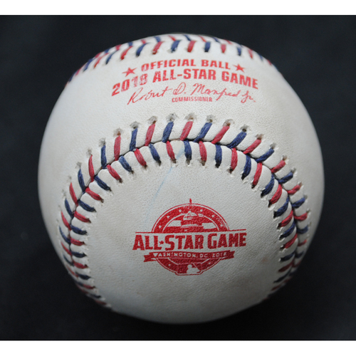 Photo of 2018 All-Star Game (7/17/2018) - Game-Used Baseball - Bottom 5th, Pitcher - Jose Berrios, Batter - Javier Baez (Chicago Cubs)/Nolan Arenado (Colorado Rockies) - Fly Out/Ball