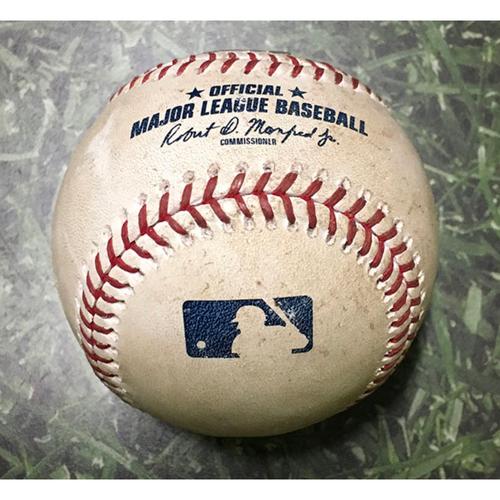Photo of Game-Used Baseball NYM@MIL 05/27/18 - Zack Wheeler - Christian Yelich: Single