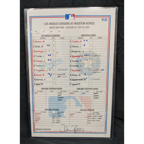 Photo of Game-Used Lineup Card July 29th 2020 Dodgers @ Astros