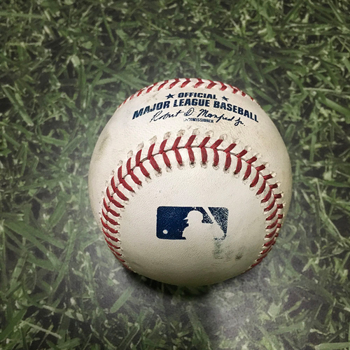 Photo of Game-Used Baseball ATL@MIL 07/07/18 - Aaron Wilkerson - Johan Camargo: 2-Run Single (INCLUDES FREE SHIPPING & FREE 2020 GAME-READY 50TH ANNIVERSARY BASEBALL)