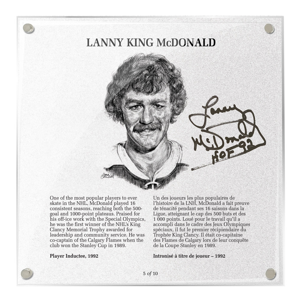 Lanny McDonald Autographed Legends Line Honoured Member Plaque - Limited Edition 3/10
