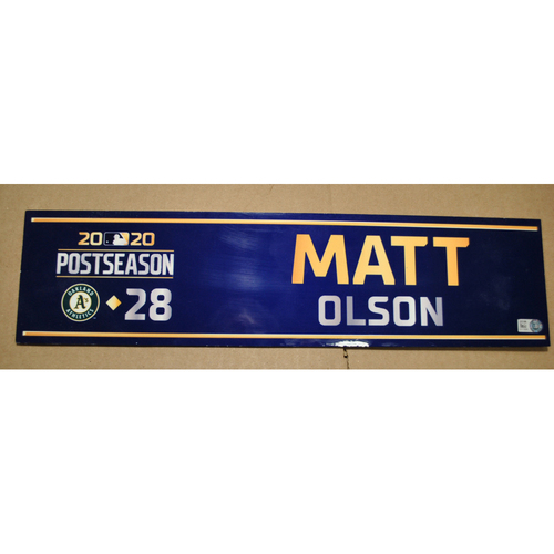 Photo of Game-Used Locker Name Plate - 2020 ALDS Game 4 - Oakland Athletics vs. Houston Astros - Matt Olson (Oakland Athletics)