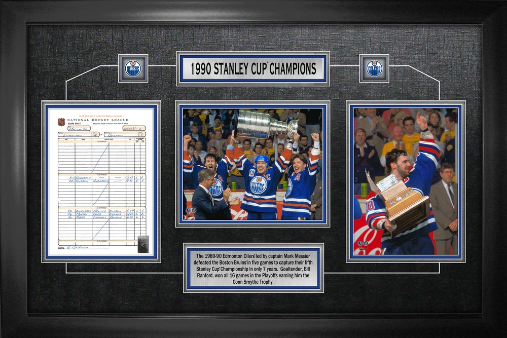 Edmonton Oilers Framed Scoresheet Collage 1990 Stanley Cup Champions