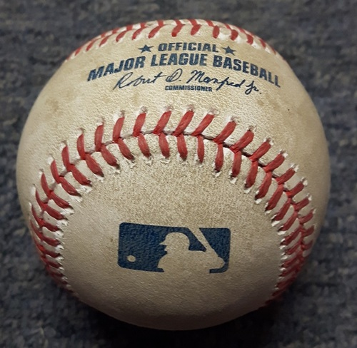 Photo of Authenticated Player Collected Baseball - #14 Justin Smoak. Home run ball hit by Justin Smoak over center field wall onto the Rogers Centre ring road. 7th Inning vs Gaviglio. Home Run #6 of the season. (May 11, 2017)
