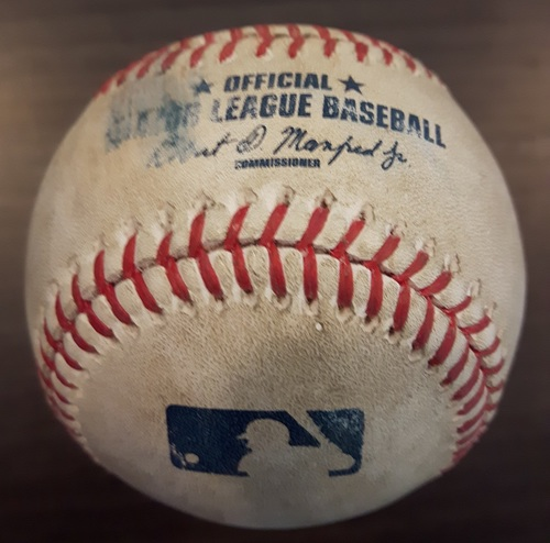 Photo of Authenticated Game Used Baseball - Aaron Loup Strikeout on May 15, 2017 (Top 8 vs Tyler Flowers)