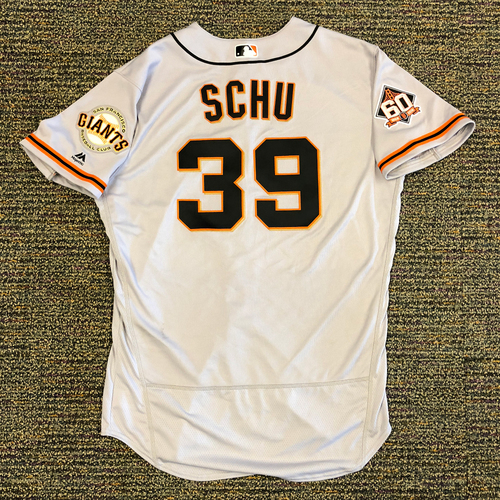 Photo of San Francisco Giants - 2018 Opening Day Game-Used Road Jersey - Worn by #39 Rick Schu on 3/29/2018 vs. the Los Angeles Dodgers - Jersey Size 48
