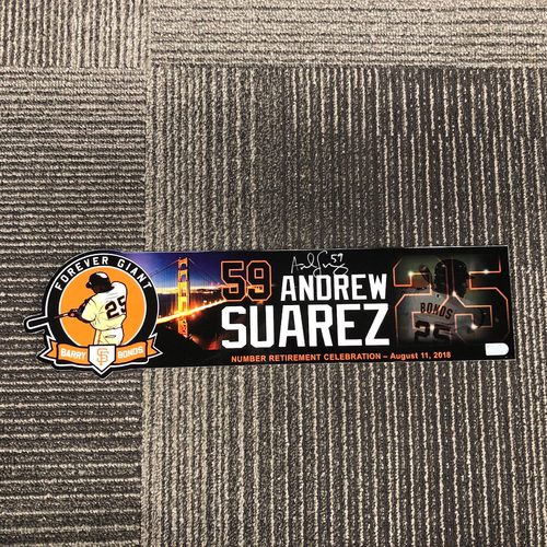 Photo of 2018 Autographed #25 Retirement Day Locker Tag - #59 Andrew Suarez